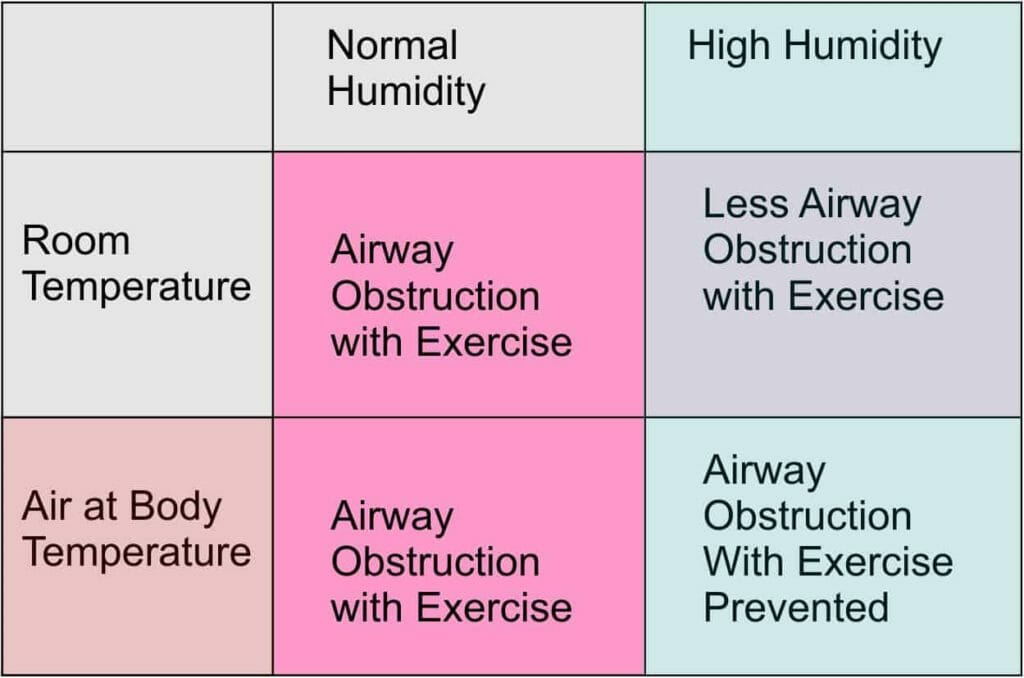 The effect of air humidity and temperature on the effect of exercise on airway obstruction induced by exercise in asthmatics